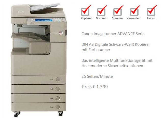 Canon IR Advance 4025 Kopierer Drucken Scannen Versenden Faxen