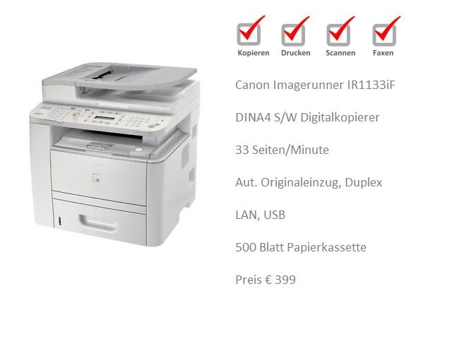 Tischkopierer Canon IR1133iF